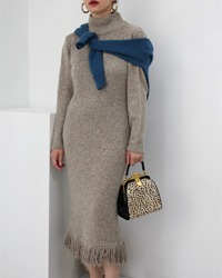 (otto collection)pringe knit long dress