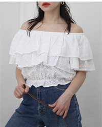 (cecil mcbee)lace off-shoulder top