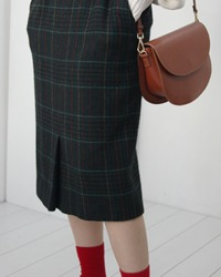 (DAKS)check wool skirt